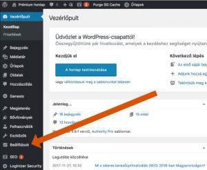 WordPress beállítások a vezérlőpulton.