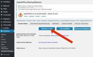 Az első WordPress biztonsági mentés elkészítése